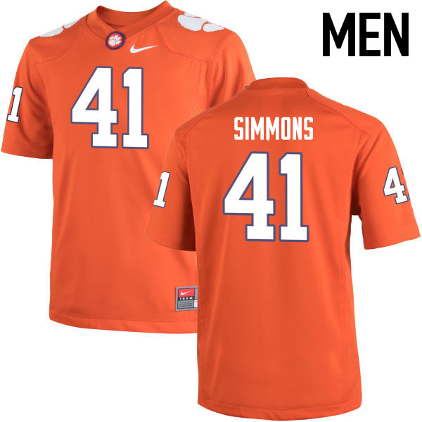 Men Clemson Tigers #41 Anthony Simmons College Football Jerseys-Orange