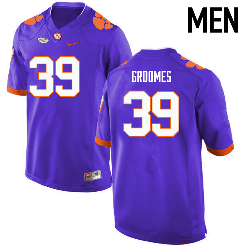Men Clemson Tigers #39 Christian Groomes College Football Jerseys-Purple