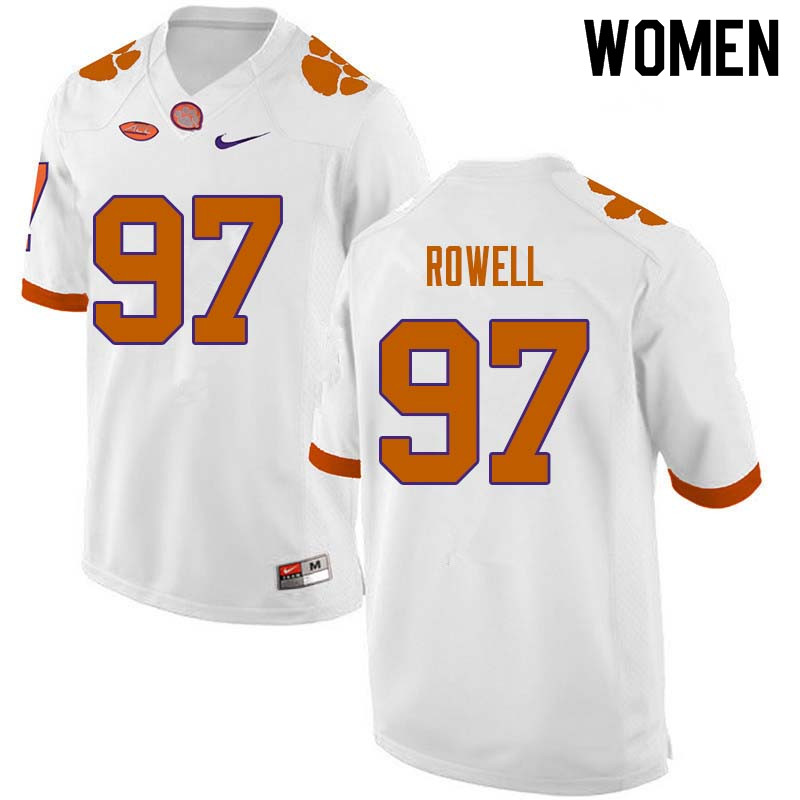 Women #97 Nick Rowell Clemson Tigers College Football Jerseys Sale-White