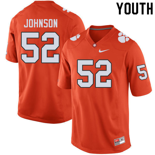 Youth #52 Tayquon Johnson Clemson Tigers College Football Jerseys Sale-Orange